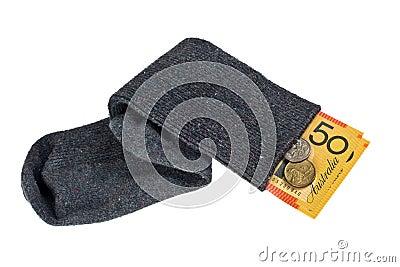 Australian currency in a sock