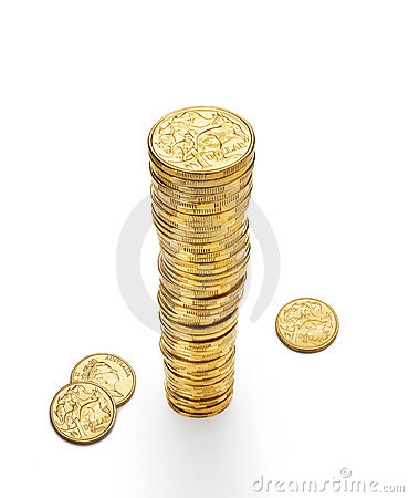 Australian Dollar Coins Stack Money