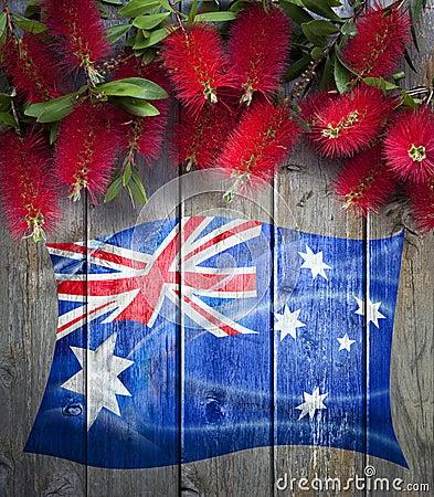 Australian Flag Flowers Background