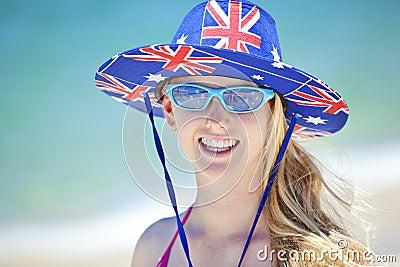 Australian Flag Hat Girl Beach