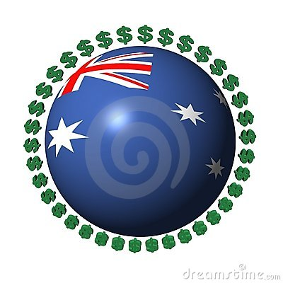Australian flag sphere with dollar