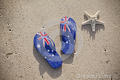 Australian Flag Thongs Beach