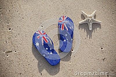Australian Flag Thongs Beach