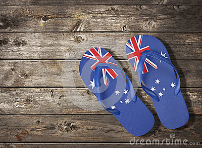Australian Flag Thongs Wood Background