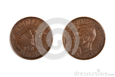 Australian Half Penny Coin Isolated