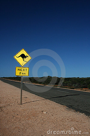 Australian kangaroo road sign