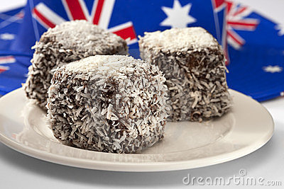 Australian Lamingtons Cake Food Royalty Free Stock