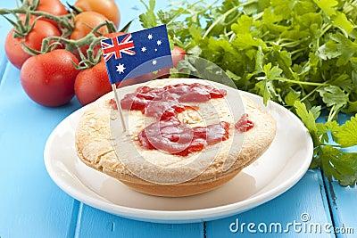 Australian Meat Pie & Sauce Food