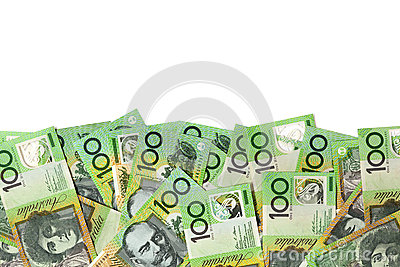 Australian Money Border over White