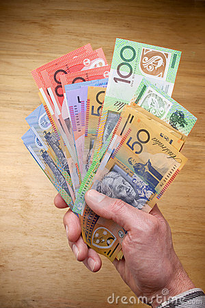 Australian Money Dollars Hand