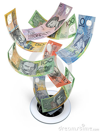 Free Australian Money Down The Drain Waste Stock Photography - 24902852