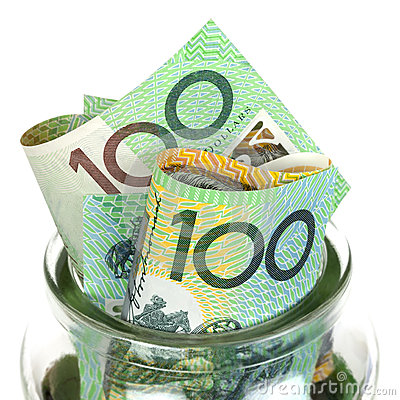 Australian Money in Jar