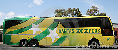 Australian National Soccer Team Bus Editorial Stock Image