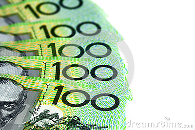 Australian One Hundred Dollar Bills over White