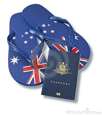 Travel Australian Passport Flag Thongs