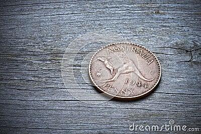 Australian Penny On Wood