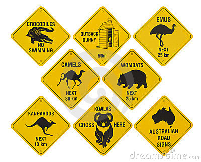 australian road signs collection stock photography   image