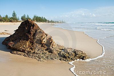 Australian seascape with big rock