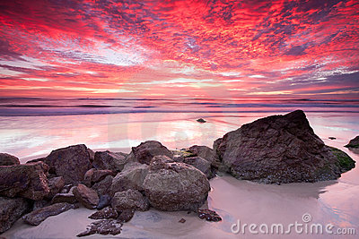Australian seascape at red sunrise