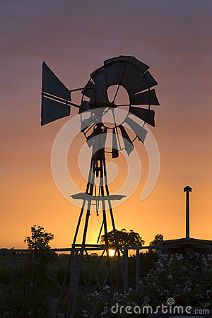 Australian Windmill at Sunset