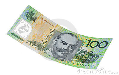 Australiano cento note del dollaro isolate
