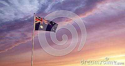 Australie Flag Flying Est Un Symbole National Du Patriotisme Pour Les Australiens - Vidéo De 4 Km/S En Mouvement Lent banque de vidéos