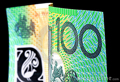 Australien cents notes du dollar sur le noir