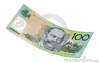 Australiensisk isolerad anmärkning en för dollar hundra