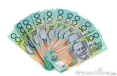 Australier eine 100-Dollar-Anmerkung berechnet Geld