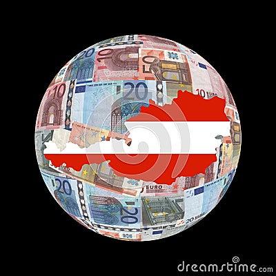 Austria map on euros globe