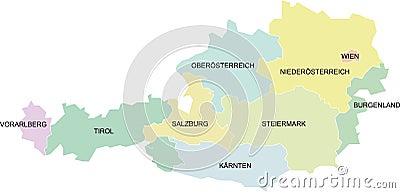 Austria map - federal states