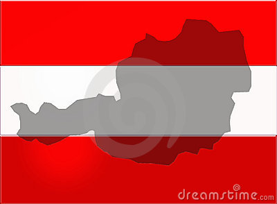 Austria outlined on the flag