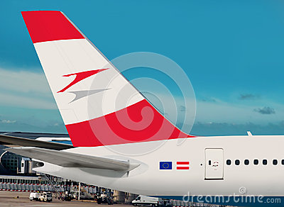 Austrian Airlines plane. Editorial Stock Photo