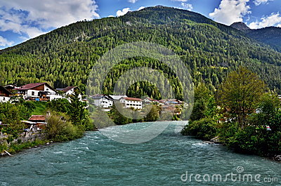 Austrian Alps-view to river Inn in city Pfunds