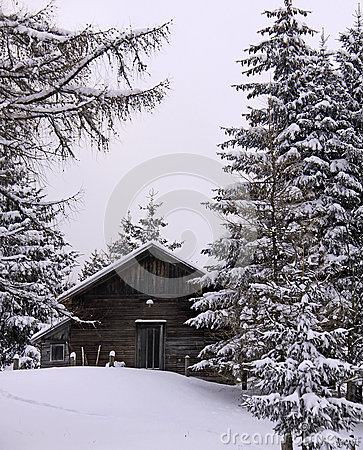 Free Austrian Alps, Wood Cabin In Winter With Snow Royalty Free Stock Photography - 28694417