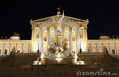 Austrian Parliament building in Vienna at night