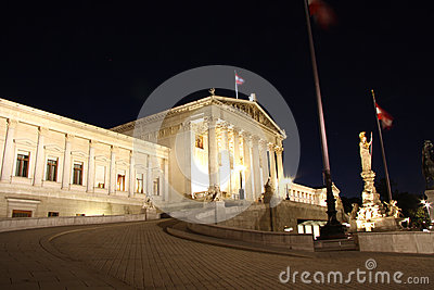 Austrian Parliament building in Vienna at night