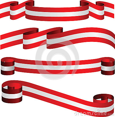 Austrian ribbons in flag s colors isolated on white