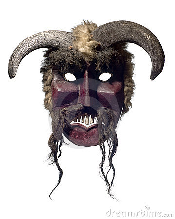 Authentic buso mask from Mohacs isolated on white