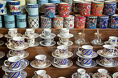 Authentic Iznik tile work cups