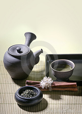 Authentic japanese tea pot with green tea