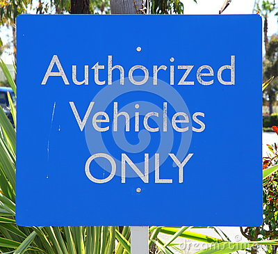 Authorized Vehicles Sign