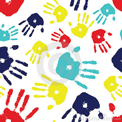 Free Autism Handprint Seamless Tile Stock Images - 16383484