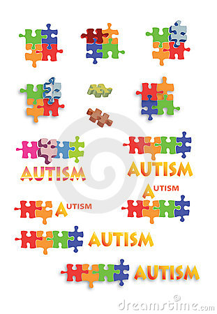 Autism puzzle pieces and titles Full page