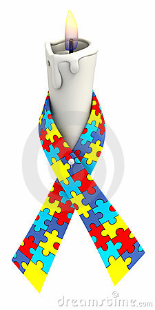 Autism ribbon candle