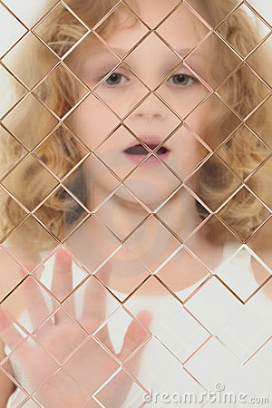 Free Autistic Child Blurred Behind Pane Of Glass Stock Images - 19081054