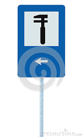 Free Auto Car Repair Shop Icon, Vehicle Mechanic Fix Service Garage Road Traffic Sign Roadside Pole Post Signage, Isolated, Black Arrow Royalty Free Stock Photography - 78762387