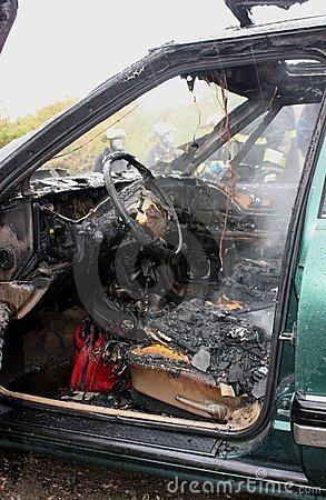 An auto interior after the fire