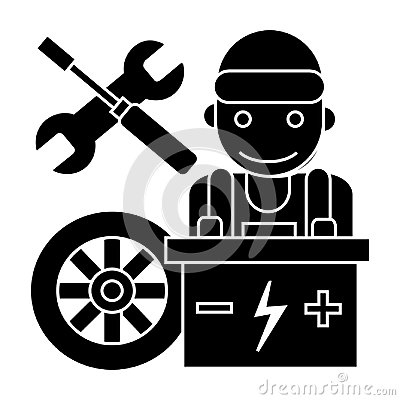 Free Auto Mechanic - Battery Wheel - Screwdriver And Wrench Icon, Vector Illustration, Black Sign On Isolated Background Stock Photos - 102002783