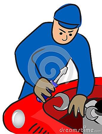 Auto mechanic repairs a motor